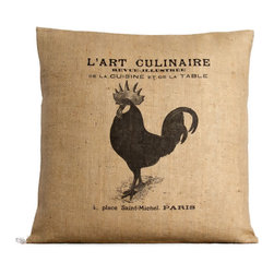 L'Art French Rooster Burlap Pillow - Petit Coterie's decorative pillows feature European and Nordic designs that are reminiscent of vintage French and German grain sacks. Combining classic materials with impeccable workmanship, the L'Art French Rooster Burlap Pillow is handmade in the USA with a soft 10 ounce burlap. A simple accent for any room, the classic rooster design brings a touch of the French Countryside.