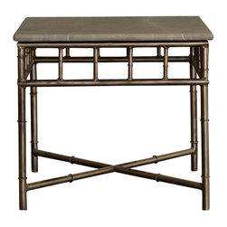 Marco Polo Imports - Rasa End Table - Industrial iron end table with exquisite detail and a nostalgic smoothed stone top.  Makes a great addition to any home office, living room, or bedroom.