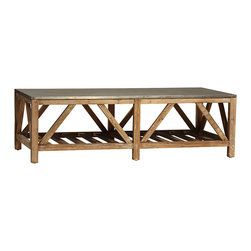 Clifton Coffee Table, Pine Base with Zinc Top - The Clifton coffee table is a striking example of a trestle-style table. It's created with mixed materials for an updated, contemporary look. Crafted from reclaimed pine with a clear sealed finish, the base of the table features a slatted lower shelf for open display and storage with appealing trestle details that catch the eye and create a sense of grand design. The rectangular tabletop is a sealed zinc metal piece that lends rustic, distressed charm to the table's contemporary feel.