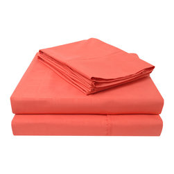 Heritage 3000 Windowpane Sheet Set - Queen - Coral - The new Heritage Series features updated highest quality 100% microfiber sheets. The microfibers are 100 times thinner than a strand of hair making the weave impenetrable to allergens and dust mites. These sheets feature a minimalist window pane pattern and are comfortable as well as durable.