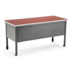 OFM - Executive Series Computer Desk with Drawers - This heavy-duty desk Features: -Desk.-Mar-proof high pressure laminate surface.-Heavy-duty table.-Two pencil drawers.-The round steel tube legscasters on two legs and adjustable leg glides on the other two.-2 pencil drawers and a large 25.5''x59'' high-pressure laminate tabletop. The 16-gauge steel frame is both strong and sturdy. The round steel tube legs feature casters on two legs and adjustable leg glides on the other two, making this a mobile training table that can move exactly where needed. The 16-gauge steel frame is both strong and sturdy.-Executive Series collection.-Designed and built for commercial use.-Distressed: No.-Collection: Executive Series.Dimensions: -Overall dimensions: 29'' H x 59'' W x 25.5'' D.-Overall Product Weight: 87 lbs.Assembly: -Specifications:.-Assembly required.