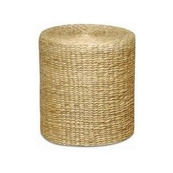 Traditional Round Garden Stool with Hyacinth Wicker Wrap -