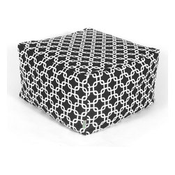 Majestic Home - Indoor Black Links Large Ottoman - Add a little character to your living room with the Majestic Home Goods Large Ottoman. This Ottoman is the perfect accessory to add comfort and style to any room while functioning as a decorative foot stool, pouf, or coffee table. Woven from cotton duck or twill, these ottomans are durable yet comfortable. The beanbag inserts are eco-friendly by using up to 50% recycled polystyrene beads, and the removable zippered slipcovers are conveniently machine-washable.