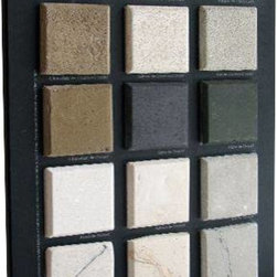 Omega Mantels - Exploration kit-Color Sample Board - The Omega exploration kit includes: 15 color and finish samples, 100 page color brochure and a $50 discount coupon for your future Cast Stone Fireplace surround.