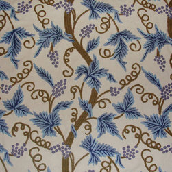 Crewel Fabric World by MDS - Crewel Fabric Grapevine Blue on Off White Cotton Duck- Yardage - Inspiration: Grapes is a pattern inspired by Fresh Vineyards from France. The word Grapes means Fresh, Young, New etc;.