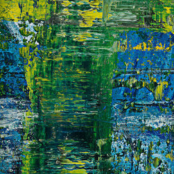 "modern abstraction #123-2443, 36x48 - ""Modern Abstractions"", combines Spencer Rogers' photography and painting. They are macro photographs of small sections of his large paintings that are printed behind museum grade plexiglass acrylic, with polished edge, to create a stunning modern look. These have been a designer's dream as you can order them in multiple sizes. Only 25 of each image will be sold, which creates a lot of appeal to collectors and helps keep these works of art as unique as the original paintings. The finished piece in the sample photo is 48x64"