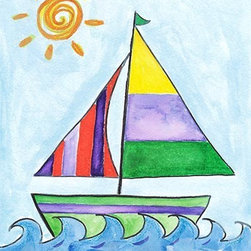 Oh How Cute Kids by Serena Bowman - Sailboat 3, Ready To Hang Canvas Kid's Wall Decor, 16 X 20 - Each kid is unique in his/her own way, so why shouldn't their wall decor be as well! With our extensive selection of canvas wall art for kids, from princesses to spaceships, from cowboys to traveling girls, we'll help you find that perfect piece for your special one.  Or you can fill the entire room with our imaginative art; every canvas is part of a coordinated series, an easy way to provide a complete and unified look for any room.