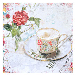 YOSEMITE HOME DECOR - Tea Time - If you enjoy Victorian style decor this painting is sure to meet your tastes. This canvas features a fading floral background with a beautiful red rose in full bloom on its stem with two other rose buds. There is also a delicate floral porcelain cup and matching saucer filled with a frothy cup of coffee and a spoon. The soft pastels make for a pleasing color palette.