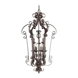 Livex Lighting - Livex Manchester 6165-58 Foyer Pendant - Imperial Bronze - 23 diam. in. - 6165-5 - Shop for Pendants from Hayneedle.com! Showcasing an eye-catching design that will add a mix of glamour and sophistication to your home the Livex Manchester 6165-58 Foyer Pendant - Imperial Bronze - 23 diam. in. is sure to be the highlight of any upscale entryway. The exquisite scroll-accented frame in beautiful imperial bronze finish frames nine candle cups each of which holds a 60-watt candelabra base bulb (not included). A must-have for any space that style and substance in equal measure this 23-inch pendant comes with 108 inches of chain and 180 inches of wire for installation. Professional installation is recommended.About Livex LightingLivex Lighting is a manufacturer and distributor of decorative residential lighting. The company was founded in 1993 and is now headquartered in a 150 000-square-foot facility in Morristown New Jersey. Livex Lighting currently offers over 2 500 products ranging from lighting fixtures for indoor and outdoor applications to lampshades chandelier shades ceiling medallions and accent furniture. The goal of Livex Lighting is to provide the highest-quality product at the most affordable price. We are constantly responding to the ever-changing needs styles and fashions of the lighting industry while always maintaining the highest standards of quality.