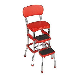 Cosco Office - Retro Step Stool & Chair in Red Vinyl w Chrom - Easy, one-tool assembly. Step stool slides in and out easily with smooth tracking. Convenient counter height step stool. Padded vinyl seat & back. Sturdy leg tubing for stability. Over-molded step treads for security. 225 lbs. weight capacity. Stylish chrome finish. Made of polypropylene, steel, vinyl & foam. 10-Year limited warranty. 16 in. W x 23.25 in. D x 35.63 in. H