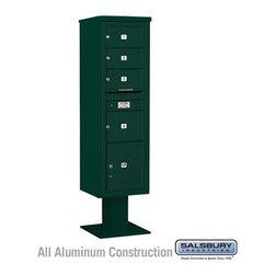 Salsbury Industries - 4C Pedestal Mailbox (Includes 13 Inch High Pedestal and Master Commercial Locks) - 4C Pedestal Mailbox (Includes 13 Inch High Pedestal and Master Commercial Locks) - Maximum Height Unit (72 Inches) - Single Column - 3 MB2 Doors / 1 MB3 Door / 1 PL - Green