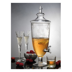 "Godinger Silver - Savannah Drink Dispenser - Quench your thirst and that of your guests, with this spectacular and attractive Savannah floral glass drink dispenser. Its fine design, and smooth finish will surely make a statement and at the same time avoid sticky situations. * Holds 108 oz. * Dimensions: Overall: 13"" H. from spout to table: 4"", cover 3"" H. * Diameter: 7.5"""