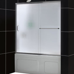 DreamLine - DreamLine SHDR-0960580-01-FR Infinity-Z 56 to 60in Frameless Sliding Tub Door, F - The Infinity-Z sliding tub door delivers a classic design with a fresh attitude. Features of convenience like a handy towel bar and fast release wheels that make cleaning the glass and track a cinch are combined with the modern appeal of a frameless glass design. Choose the simply sophisticated style of the Infinity-Z sliding tub door. 56 - 60 in. W x 58 in. H ,  1/4 (6 mm) frosted tempered glass,  Chrome or Brushed Nickel hardware finish,  Frameless glass design,  Width installation adjustability: 56 - 60 in.,  Out-of-plumb installation adjustability: Up to 1 in. per side,  Anodized aluminum profiles and guide rails,  Convenient towel bar on the outside panel,  Aluminum top and bottom guide rails may be shortened by cutting up to 4in,  Door opening: 21 3/8 - 25 3/8 in., Aluminum