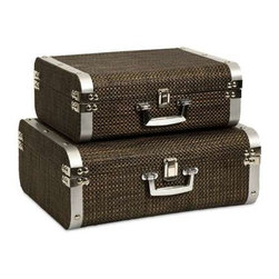 Curry Storage Suitcases with Stainless Steel Trim - Set of 2 - This set of two classic and sophisticated storage cases is covered in a woven chocolate toned cover and features stainless steel trim.