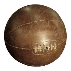 Kathy Kuo Home - Silver dome Vintage Leather Basketball Tabletop Shelf Decor - With this vintage-inspired leather basketball on display in your home, you'll feel the glory of the good ol' days. Harken back to a time when even sporting goods were made with care, when you feel the careful stitching of this sleek basketball.