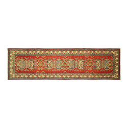 Manhattan Rugs - New HQ Super Kazak Red Veg Dyed Runner HandKnotted Wool 3x10 Geometric Rug H5862 - Kazak (Kazakh, Kasak, Gazakh, Qazax). The most used spelling today is Qazax but rug people use Kazak so I generally do as well.The areas known as Kazakstan, Chechenya and Shirvan respectively are situated north of  Iran and Afghanistan and to the east of the Caspian sea and are all new Soviet republics.   These rugs are woven by settled Armenians as well as nomadic Kurds, Georgians, Azerbaijanis and Lurs.  Many of the people of Turkoman origin fled to Pakistan when the Russians invaded Afghanistan and most of the rugs are woven close to Peshawar on the Afghan-Pakistan border.There are many design influences and consequently a large variety of motifs of various medallions, diamonds, latch-hooked zig-zags and other geometric shapes.  However, it is the wonderful colours used with rich reds, blues, yellows and greens which make them stand out from other rugs.  The ability of the Caucasian weaver to use dramatic colours and patterns is unequalled in the rug weaving world.  Very hard-wearing rugs as well as being very collectable