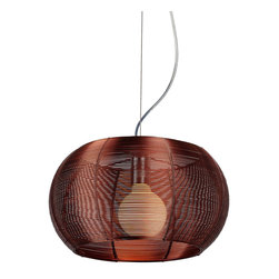 "IFN Modern - Lendex 1 Light Round-Mini Pendant In Maroon - Stainless steel just got a new lease on light in this dazzling pendant. If yours is a contemporary or modern decor this light is a quiet, elegant touch of restraint. In a more traditional space, this light will steal the show.â— Aluminumâ— Comes in Maroonâ— Incandescent 60 Watt Bulb (Not Included)â— 3lbsâ— 110 Voltsâ— 60"" Cordâ— Shade Diameter - 13.8"""