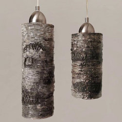 Birch Wood Hanging Pendant Lamp - Bring a little bit of nature indoors and enjoy it year-round! The birch shade is made of a thin protective zinc metal core tube, covered in natural bark and wrapped with silver-toned wire. Because this is real birch wood, the bark naturally peels a little, giving each lamp a truly rustic feel and unique silhouette. Complements many styles of décor - contemporary, shabby chic or industrial. Designed by Stephanie Reppas.