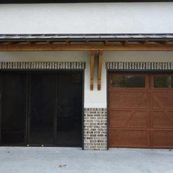 Garage Door Screen / Steel Carriage House Garage Door - Lifestyle Garage Door Screen w/ Walk Through Opening and Steel Carriage House Style Garage Door