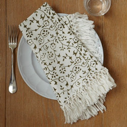 Fringe Napkins, Calico Indienne, Set of 4 - How about these hand-loomed, fringed napkins from Les Indiennes? Everything else on the table could be very simple, and these napkins alone would be enough to make it look special.