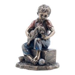 US - 5.25 Inch Bronzehued Burnished Figurine Seated Boy Feeding Dog - This gorgeous 5.25 Inch Bronzehued Burnished Figurine Seated Boy Feeding Dog has the finest details and highest quality you will find anywhere! 5.25 Inch Bronzehued Burnished Figurine Seated Boy Feeding Dog is truly remarkable.