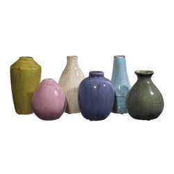 IMAX - Mini Tuscany Vases - Set of 6 - Set of six mini ceramic Tuscan style vases in varying shapes and colors.