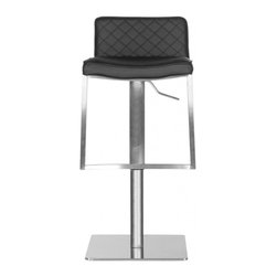 Safavieh - Claudio Barstool - Elegant diamond quilted black leather upholstery distinguishes the contemporary Claudio barstool. Designed with all the flair of a European couture piece, this modernist barstool is crafted of stainless steel with adjustable seat height. The Claudio barstool can be positioned from 30.71 to 43.31 inches in total height.