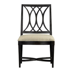 """Stanley Furniture - Coastal Living Resort Heritage Coast Side Chair - Stormy Night Finish - Water--there is just something about oceans and lakes, even rivers, that call to our very core. Our Heritage Coast Side Chair harnesses that love of water, and its movement, and puts it into another form. The interlocking curves featured on the back resemble the twists and turns of a river, while the X-shaped braces speak to the ocean's waves tumbling over one another. Seat height: 19 1/4"""" H Fabric: Solana Sand Made to order in America."""