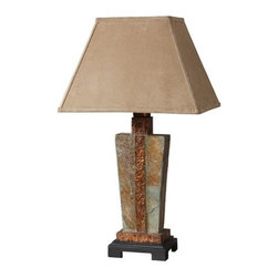 Uttermost - Uttermost 26322-1 Slate Accent Lamp with Copper Accent - Uttermost 26322-1 Carolyn Kinder Slate Accent LampThis indoor/outdoor lamp is made of real hand carved slate with hammered copper details. The rectangle bell shade is a brushed suede, weather resistant textile. Due to the natural material being used each piece will vary.Features: