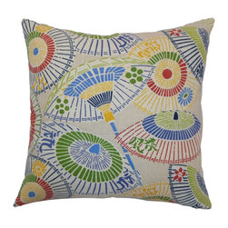 """The Pillow Collection - Ayesa Umbrella Pillow, Primary - This contemporary throw pillow is the easiest way to add a funky vibe to your space. This square pillow comes with an intricate Oriental umbrella print pattern in primary colors: green, red, blue and yellow. Mix and match this decor pillow with other accent pieces to create a beautiful look for your home. This 18"""" pillow is made from durable materials: 55% linen and 45% rayon. Hidden zipper closure for easy cover removal.  Knife edge finish on all four sides.  Reversible pillow with the same fabric on the back side.  Spot cleaning suggested."""