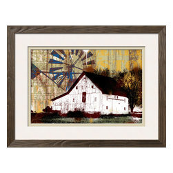 Artcom - Americana 7 by JB Hall - Americana 7 by JB Hall is a Framed Giclee Print set with a ARBER Brown wood frame and Polar White and Pale Laurel matting.