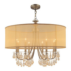 Crystorama - Crystorama Hampton 1 Tier Chandelier in Antique Brass - Shown in picture: Antique Brass Chandelier Accented with Etruscan Smooth Oyster crystals and Gold Silk Shimmer Shade; Crystorama�s very popular Hampton Collection offers fashion forward designs with soft crystal accents. The Gold Silk Shimmer shade along with the antique brass finish allows this collection to fit any transitional to contemporary room.