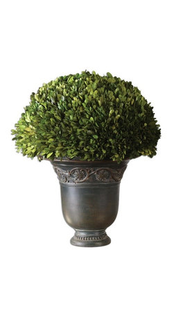 Silver Nest - Boxwood Urn - Preserved while freshly picked, natural evergreen foliage looks and feels like living boxwood potted in a carved relief, ancient bronze patina planter.
