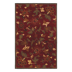 Couristan - Country & Floral Botanique 2'x4' Rectangle Crimson Area Rug - The Botanique area rug Collection offers an affordable assortment of Country & Floral stylings. Botanique features a blend of natural Crimson color. Handmade of New Zealand Wool the Botanique Collection is an intriguing compliment to any decor.