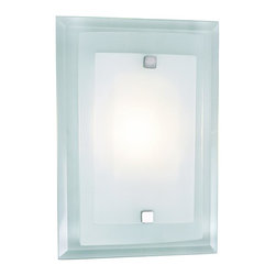 Joshua Marshal - One Light Polished Chrome Clear Wall Plate Frosted Cover Glass Wall Liight - One Light Polished Chrome Clear Wall Plate Frosted Cover Glass Wall Liight