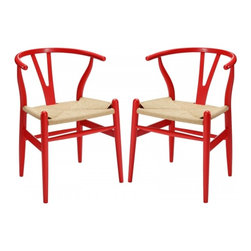 Modway Imports - Modway EEI-1319-RED Amish Dining Armchair Set of 2 In Red - Modway EEI-1319-RED Amish Dining Armchair Set of 2 In Red