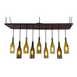 Industrial Lightworks - Modern Chandelier with Recycled Wine Bottle Pendants - Modern Chandelier with Recycled Wine Bottles