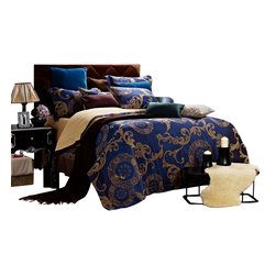 Dolce Mela - Dolce Mela DM479 Jacquard Damask Luxury Bedding Duvet Covet Set, Queen - A luxurious and traditional design is presented on this duvet cover set featuring classic moccasin damask patterns on a dark slate-blue background to create a sophisticated decor.