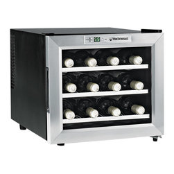 "Wine Enthusiast - Wine Enthusiast 12-Bottle Single-Zone Free Standing Countertop Wine Cooler - Don't ""wine"" about your lack of space — embrace it! This 12-bottle cooler is designed for countertop usage, allowing you access to your favorite chilled varietals with ease. An exterior touch screen with temperature display and a double-paned glass door provides functionality, but the main attraction is its energy-efficient technology."