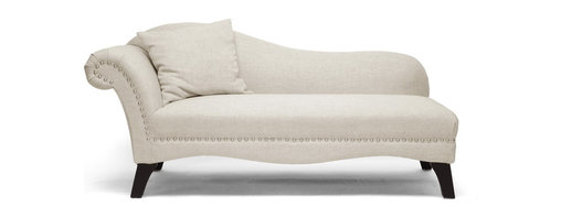Baxton Studio - Baxton Studio Phoebe Beige Linen Modern Chaise Lounge - Not only is the Phoebe Designer Chaise Lounge a sight to be seen but it's also a comfort you'll love. This new contemporary classic is a simplified silhouette with accents of silver upholstery tacks and a throw pillow. This modern Victorian chaise is made in China with a wooden frame, foam cushioning, and beige linen upholstery. Non-marking feet finish off the black wood legs. This piece must be spot cleaned when appropriate and assembled when unpackaged.