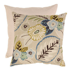 Pillow Perfect - Beige and Blue Tropical 23-Inch Floor Pillow - - Cotton Texture  - 100% Virgin Recycled Polyester Fill  - Sewn Seam Closure  - Spot Clean Only  - Made In USA  -Please note that image shows front and back of pillow. Only one pillow is being sold. Pillow Perfect - 475226