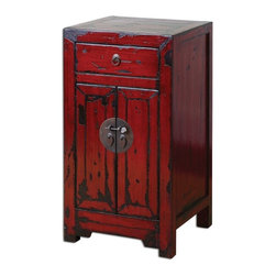 Matthew Williams - Matthew Williams Harkin Red Accent Box X-75342 - Brilliant, Vermillion Red Cabinet With Traditional Chinese Hardware And Antique Style Construction In A Heavily Distressed, High-gloss Finish.