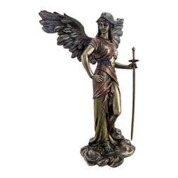 Archangel Gabriel Female Statue Battle Angel W/ Sword - The Archangels are the captains of all the angels, having been created as the foremost hierarchs in the angelic kingdom. They are majestic beings who personify divine attributes and are at the service of the mankind of earth. They work tirelessly to defeat evil and promote good. Archangel Gabriel, who`s name means `Hero of God,` is the bearer of GOOD NEWS as the voice of God. This archangel is a messenger who whispers in our ear of coming events, changes, and opportunities for new experiences He restores life and light into stagnant areas of your life such as relationships, businesses, households, etc. Although angelic beings are genderless, Gabriel is the only Archangel who has occasionally appeared in a distinctly female form. This bronze look statue of Archangel Gabriel in female form has hand-painted accents, and shows exquisite detail. Gabriel stands prepared for battle, with removable sword in hand. The statue is 12 1/2 inches tall, 8 1/2 inches wide and 4 inches deep. Made of cold cast resin, it has the look and feel of bronze. This statue makes a great gift for family and friends. It is brand new, never displayed. We have a limited number of these, so don`t miss out. Get yours now!