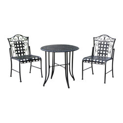 "International Caravan - International Caravan Mandalay Wrought Iron 3-Piece Patio Bistro Set - International Caravan - Patio Bistro Sets - 3473EP - The International Caravan Mandalay 3 Piece Patio Bistro Set is made from premium wrought iron in a dual powder coasted antique black finish with all weather resistant UV light fading protection. This outdoor patio bistro set includes two bistro chairs and one round 30"" bistro table."
