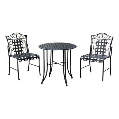 """International Caravan - International Caravan Mandalay Wrought Iron 3-Piece Patio Bistro Set - International Caravan - Patio Bistro Sets - 3473EP - The International Caravan Mandalay 3 Piece Patio Bistro Set is made from premium wrought iron in a dual powder coasted antique black finish with all weather resistant UV light fading protection. This outdoor patio bistro set includes two bistro chairs and one round 30"""" bistro table."""