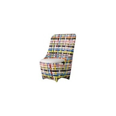 Eco Friendly Furnture and Lighting - Grey and white, brown and white, brown and black woven recycled plastic covered aluminium structure; in a multicoloured version. Padded seat cushion with outdoor upholstery. Indoor/outdoor use.