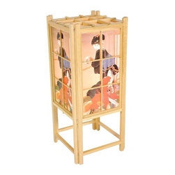 """Oriental Furniture - 18"""" Geisha Shoji Lamp - Natural - This elegant Japanese lamp is made from sturdy spruce and soft rice paper.  The paper shade has been decorated with a classic Japanese painting of two women.  Features a handpainted Geisha design on white rice paper."""