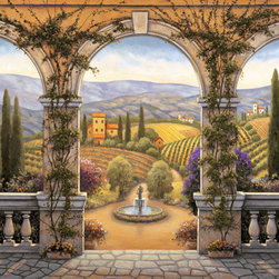 Murals Your Way - Tuscan Villa Wall Art - Three arches frame a romantic view of a Tuscan village in this wall mural, rich in the golds and greens of the Italian hillside