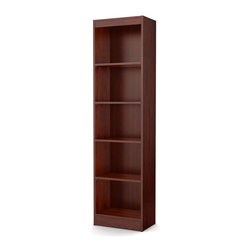 South Shore - 5-Shelf Narrow Bookcase - Accessories not included. Contemporary style with sleek lines. Narrow configuration helped to placed in tight spaces. Five open and accessible storage spaces, separated by one fixed shelf and three adjustable shelves. Laminated particle board. Warranty: Five years. Royal cherry color. Made in Mexico. Assembly required. 19 in. W x 11.5 in. D x 71.25 in. H (49 lbs.). Assembly InstructionsThis Axess bookcase is ideal for your binders, books or decorative items. Its refined lines harmonize seamlessly with virtually any decor. This bookcase is sure to enhance the look of any room in your home. Designed to maximize storage in all the rooms of your home