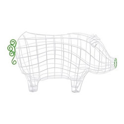 """Pig Wire Basket by Alessandro Zambelli for Seletti - Made in Italy, this wire basket was designed by Alessandro Zambelli for Seletti. The country-style basket is in the shape of a pig, with a body of plain varnished metal and a snout and tail of green wire. The quaint, agrarian design is intended to serve as a decoration or a fruit basket. Ready for harvest"""" �or everyday snack time"""" �the Pig Wire Basket brings a piece of the farm inside to the dining room or kitchen."""